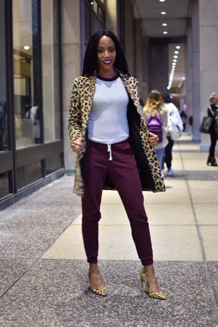 dawnn karen fashion psychology leopard coat, burgundy sweats pumps woman model