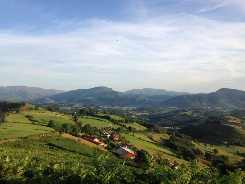 rolling hills, spain, camino, blue sky, mountains